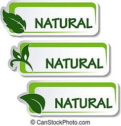 naturel, vecteur, autocollants, feuille