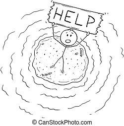 naufragé, aérien, aide, île, signe, tenue, petit homme, dessin animé, vue