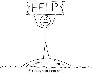 naufragé, aide, île, signe, tenue, petit, dessin animé, homme