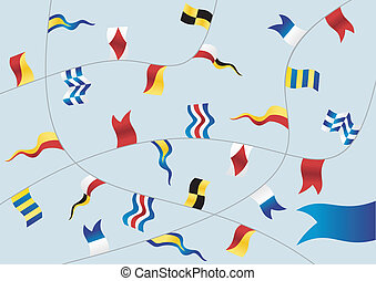 nautique, flags., ensemble