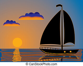 nautisme, coucher soleil