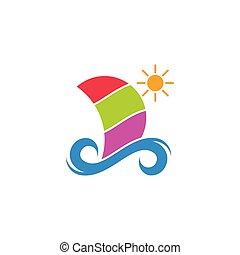 nautisme, vagues, soleil, symbole, logo, bateau, vecteur, coloré, géométrique