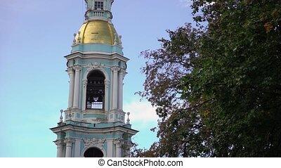 naval, orthodoxe, rue., cloche, russie, petersburg, saint, cathédrale, baroque, nicolas, tour