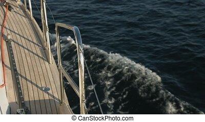 navigation yacht, mer, ouvert, vue côté