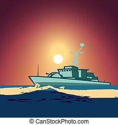 navire guerre, milieu, nuit, entiers, backdrop ciel, contre, lune, océan