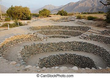 nazca., ancien, peru., ville, puits