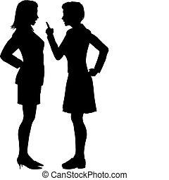 ne pas être d'accord, argument, baston, hurlement, parler, femmes