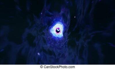 nebulae., déformation, tunnel., espace, science, voyage, trou ver, seamless, hyperspace, hole., vortex, animation, par, fiction., étoiles, temps, noir, 4k, rempli, millions