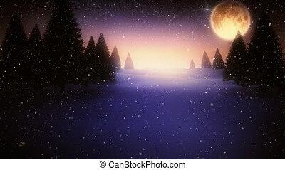 neige, étoilé, lune, tomber, noël, ciel, nuit