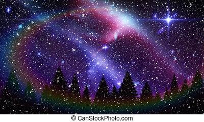 neige, étoilé, tomber, noël, arc-en-ciel, aurore, ciel, nuit
