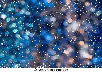 neige bleue, space., bokeh, fond, copie, noël, briller