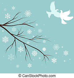 neige, branches, oiseaux