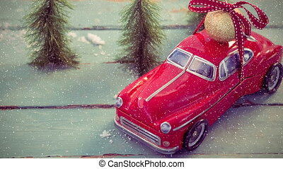 neige, combiné, tomber, modèle, voiture rouge