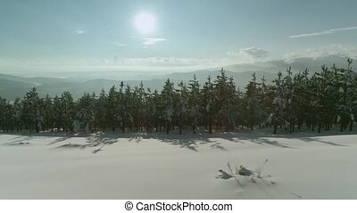 neige-couvert, heure or, montagnes