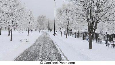 neige-couvert, long, cimetière, route