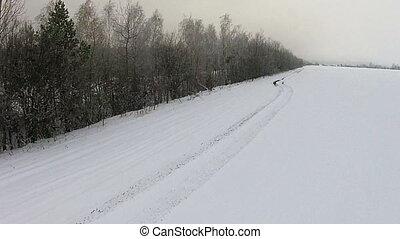 neige-couvert, prise vue aérienne, champ