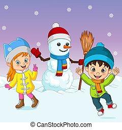 neige, dessin animé, jouer, peu, bonhomme de neige, gosses