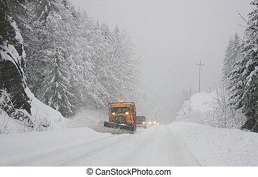 neige, devant, charrue