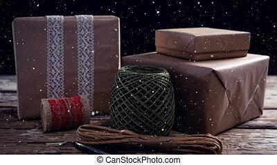 neige, dons, tomber, décoration noël