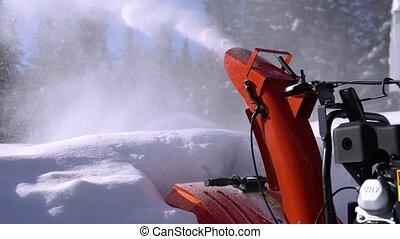 neige, enlever, mécanique, homme, jeune, chasse-neige