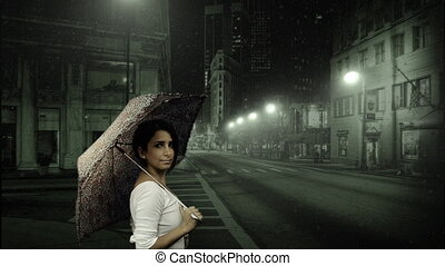 neige, femme, parapluie, jeune