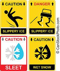 neige fondue, glissant, glace, -, signe