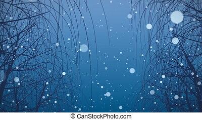 neige, hd, loop., arbres