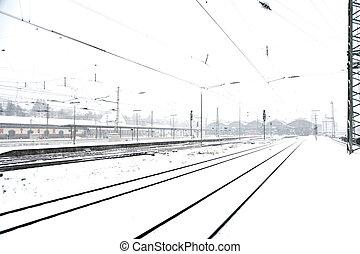 neige, hiver, agitation, piste, train