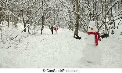 neige, hiver, amusement