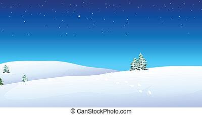 neige, montagne, encombrements, sur