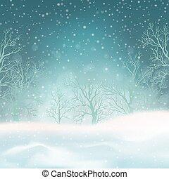 neige, paysage hiver