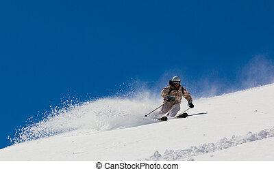 neige, profond, skieur