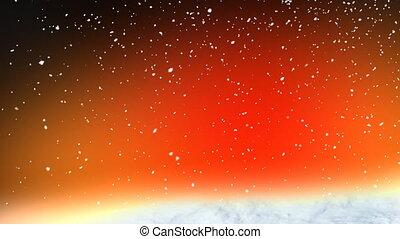 neige, rouges, boucle