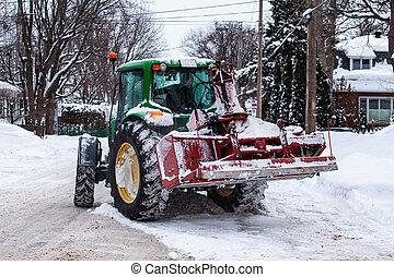 neige, tracteur, snowblower, clairière