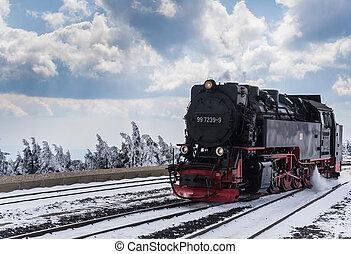neige, train vapeur