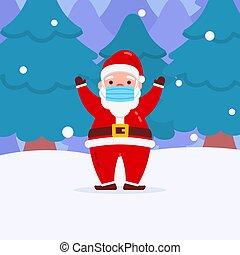 neige, usure, main, forêt, caractère, monter, masque, fond, plat, noël, conception, hiver, santa
