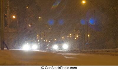 neiger, voitures, arrêté, nuit