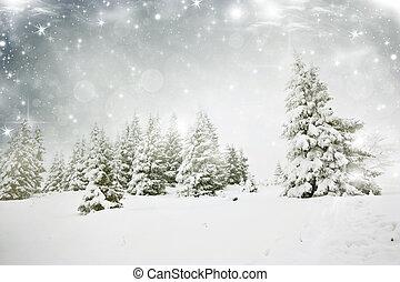 neigeux, fond, arbres sapin, noël, étoiles