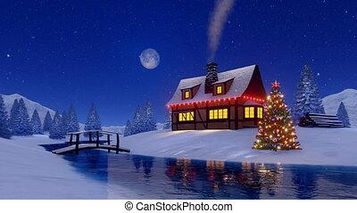 neigeux, maison, arbre, rustique, nuit, noël