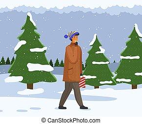 neigeux, neige, promenades, sapin, sourire, paysage, route, heureux, passé, hiver, homme
