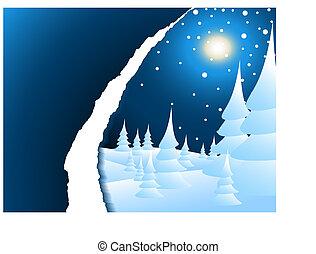 neigeux, paysage hiver, nuit