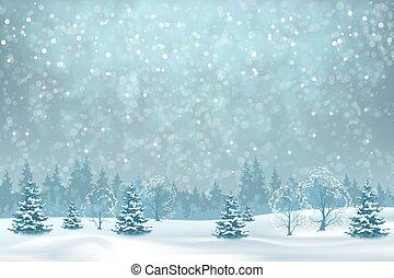 neigeux, paysage, hiver