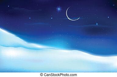 neigeux, paysage, nuit