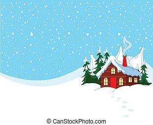 neigeux, peu, collines, maison
