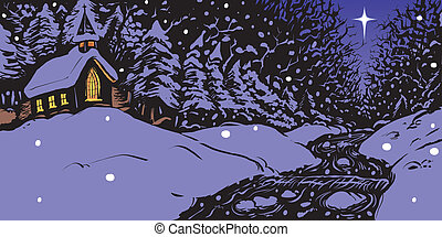 neigeux, soir, hiver, église