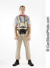 nerd., habillé, homme