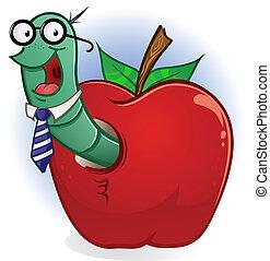 nerd, ver, dessin animé, pomme