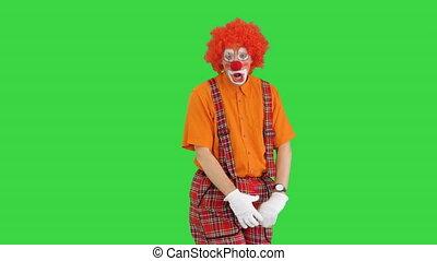 nerveux, clown, écran, malheureux, vert, chroma, key., debout, être