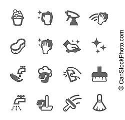 nettoyage, icônes