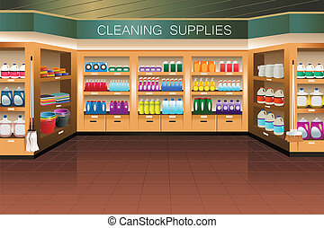 nettoyage, section, épicerie, store:, fourniture